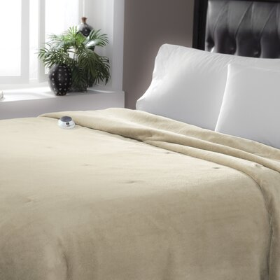 Serta Luxe Plush Micro Fleece Electric Blanket Size: Queen, Color: Pearl