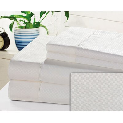 Crumbley Check Microfiber Sheet Set Size: King, Color: White
