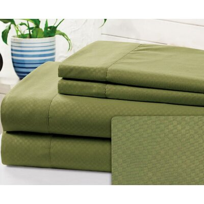 Crumbley Check Microfiber Sheet Set Size: King, Color: Sage