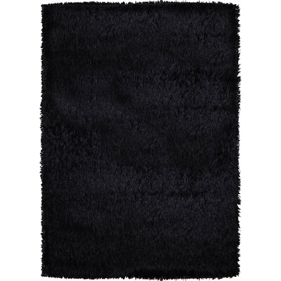 Treasure Solid Black Area Rug Rug Size: 57 x 79