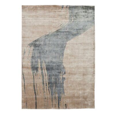 Nea Hand Knotted Blue/Beige Area Rug Rug Size: 83 x 116