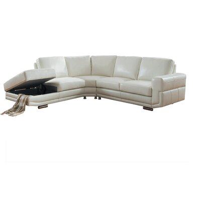 Haverville Leather Sectional Upholstery: Ivory White