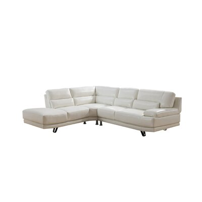 Hawkesbury Leather Sectional Upholstery: Ivory White