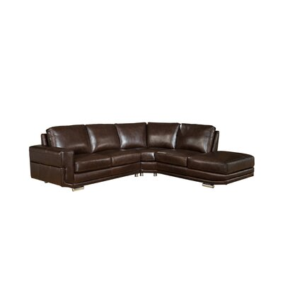 Haverville Leather Sectional Upholstery: Brown