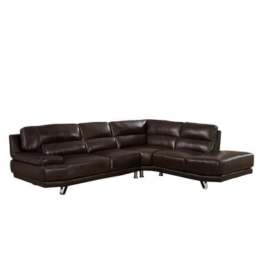 Hawkesbury Leather Sectional Upholstery: Dark Brown