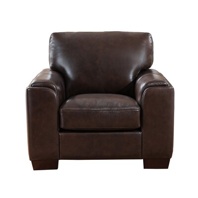 Hadley Leather Armchair Upholstery: Dark Brown