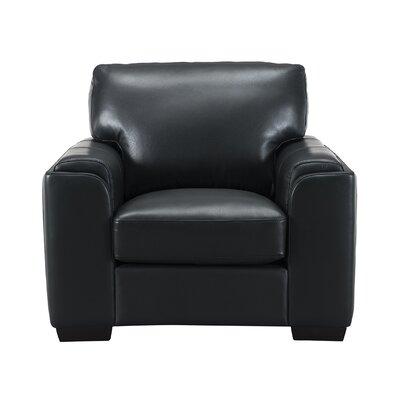 Hadley Leather Armchair Upholstery: Black