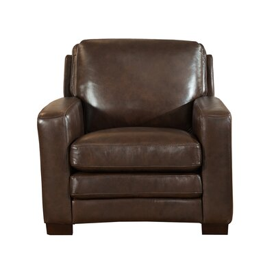Hadnot Leather Club Chair Upholstery: Dark Brown