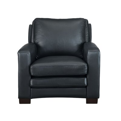 Hadnot Leather Club Chair Upholstery: Black