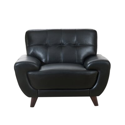 Sterns Leather Club Chair Upholstery: Black
