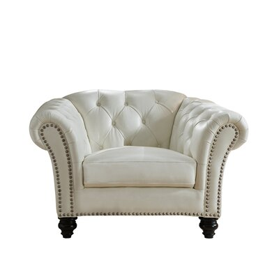 Parth Leather Club Chair Upholstery: Ivory White