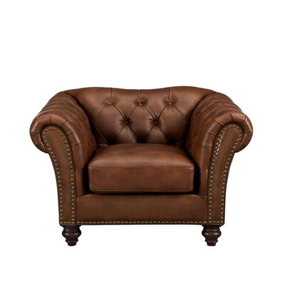 Parth Leather Club Chair Upholstery: Brown