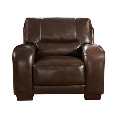 Hadsell Leather Club Chair Upholstery: Dark Brown