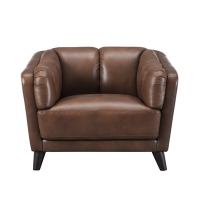 Zainab Leather Club Chair Upholstery: Brown
