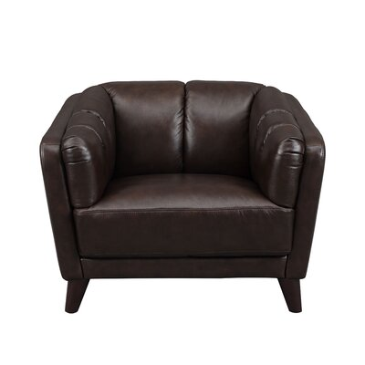Zainab Leather Club Chair Upholstery: Dark Brown