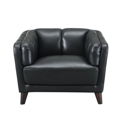Zainab Leather Club Chair Upholstery: Black