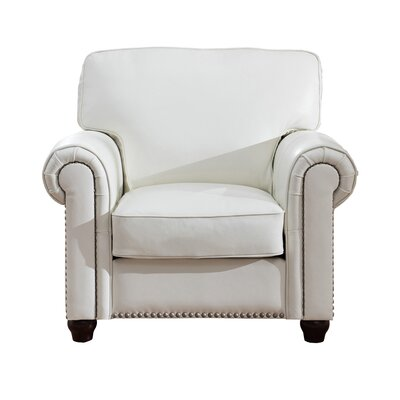 Kiaan Leather Club Chair Upholstery: Ivory White
