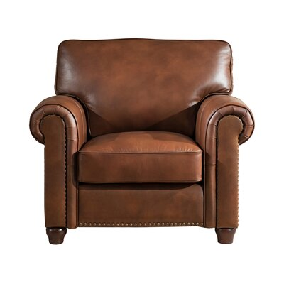 Kiaan Leather Club Chair Upholstery: Brown
