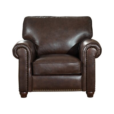 Kiaan Leather Club Chair Upholstery: Dark Brown