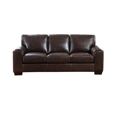 Hadley Craft Leather Sofa Upholstery: Dark Brown