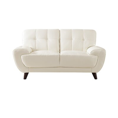 Sterns Craft Leather Loveseat Upholstery: Ivory White