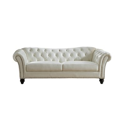 Parth Craft Leather Sofa Upholstery: Ivory White