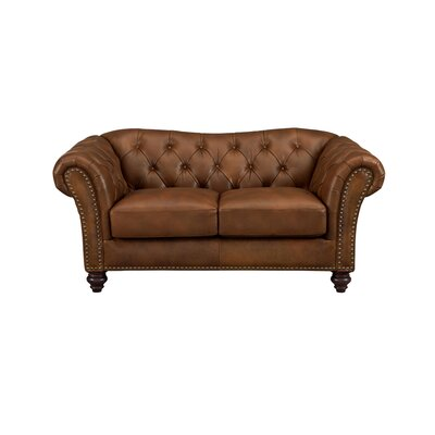Parth Craft Leather Loveseat Upholstery: Brown
