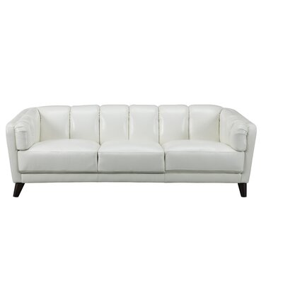 Zainab Craft Leather Sofa Upholstery: Ivory White