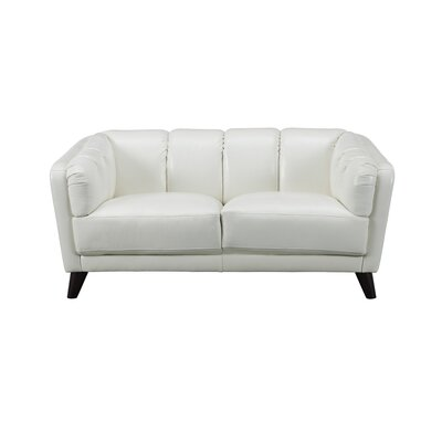 Zainab Craft Leather Loveseat Upholstery: Ivory White