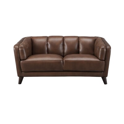 Zainab Craft Leather Loveseat Upholstery: Brown