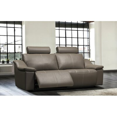 Colbie Leather Reclining Sofa Type: Power, Upholstery: Leather - Light Grey