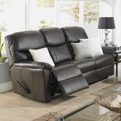 Uno Leather Reclining Sofa Type: Manual, Upholstery: Leather - Light Grey