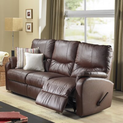 Eva Leather Reclining Sofa Type: Manual, Upholstery: Leather - Light Grey