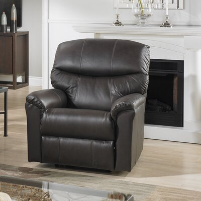 Uno Leather Power Rocker Recliner Reclining Type: Manual, Upholstery: Leather - Dark Grey