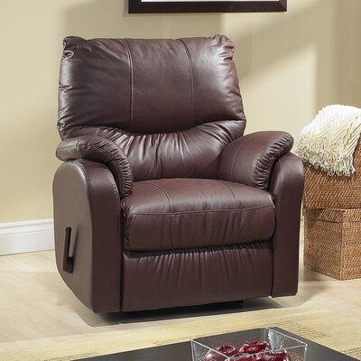Eva Leather Power Rocker Recliner Type: Power, Upholstery: Leather - Dark Grey