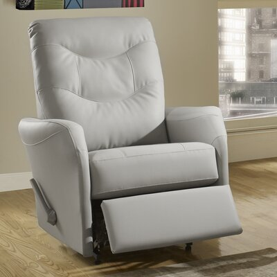 Avery Leather Power Rocker Recliner Reclining Type: Manual, Upholstery: Leather - Light Grey