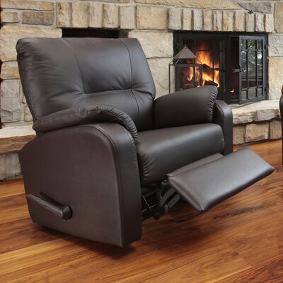 Beatrice Leather Power Rocker Recliner Reclining Type: Manual, Upholstery: Leather / Vinyl - Burgundy