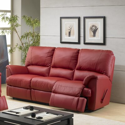 Mylaine Leather Reclining Sofa Type: Manual, Upholstery: Leather / Vinyl - Burgundy