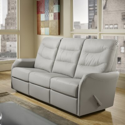 Avery Leather Reclining Sofa Type: Power, Upholstery: Leather - Light Grey