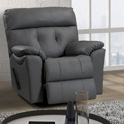 Sabrina Leather Power Rocker Recliner Reclining Type: Manual, Upholstery: Leather - Dark Grey