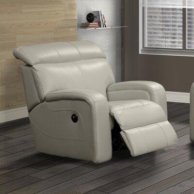 Joel Leather Power Rocker Recliner Reclining Type: Manual, Upholstery: Light Grey
