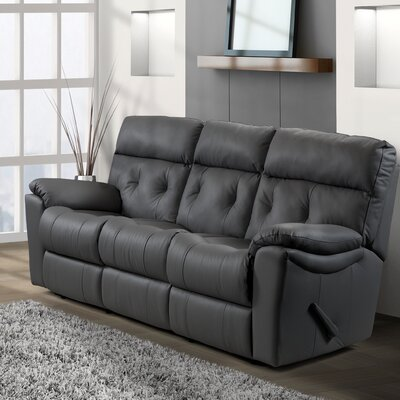 Sabrina Leather Reclining Sofa Type: Power, Upholstery: Leather / Vinyl - Black
