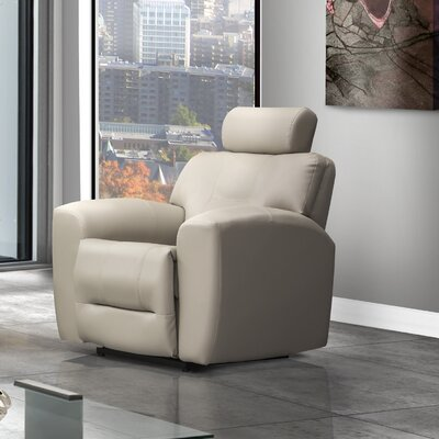 Devin Leather Power Rocker Recliner Reclining Type: Manual, Upholstery: Leather - Light Grey