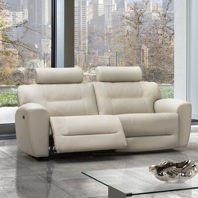 Devin Leather Reclining Sofa Type: Manual, Upholstery: Leather - Light Grey