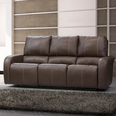 Jordan Leather Reclining Sofa Type: Manual, Upholstery: Leather - Dark Grey