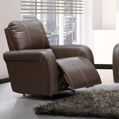 Jordan Leather Power Rocker Recliner Reclining Type: Manual, Upholstery: Leather / Vinyl - Chocolate