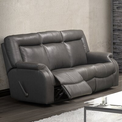 Jesse Leather Reclining Sofa Type: Manual, Upholstery: Leather - Light Grey