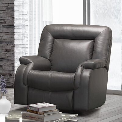 Jesse Leather Rocker Recliner Type: Manual, Upholstery: Leather - Light Grey