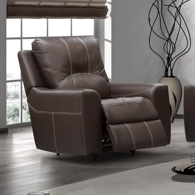 Paige Recliner Type: Manual, Upholstery: Light Grey