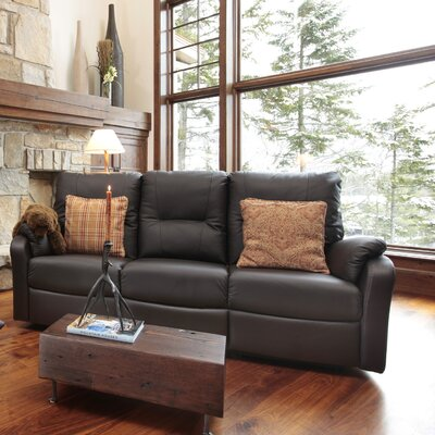 Beatrice Leather Reclining Sofa Type: Power, Upholstery: Leather / Vinyl - Black